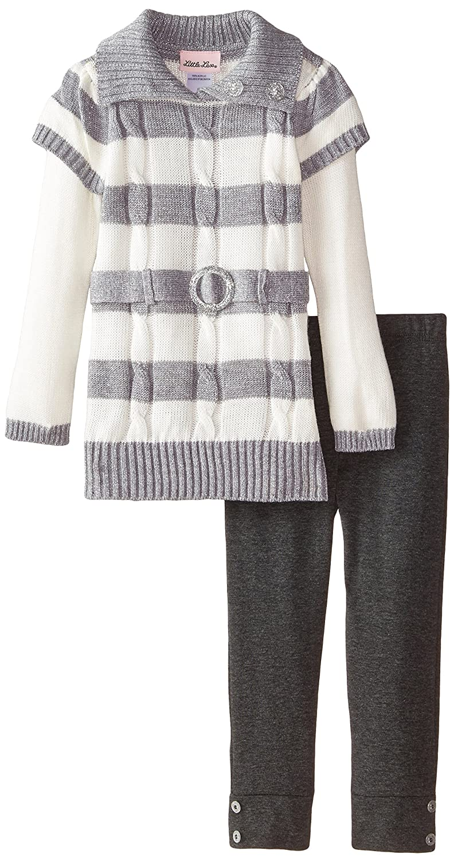Little Lass Girls 2 Piece Sweater Set Lurex Cable Stripe with Legging
