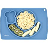 "Silicone Placemat Plate, Happy Snail, Feeding Mat for Kids, Non-Slip, 100% Food Grade Silicone, BPA Free, FDA Approved, Size 15""×10""×1"", (Blue) by silcuro"