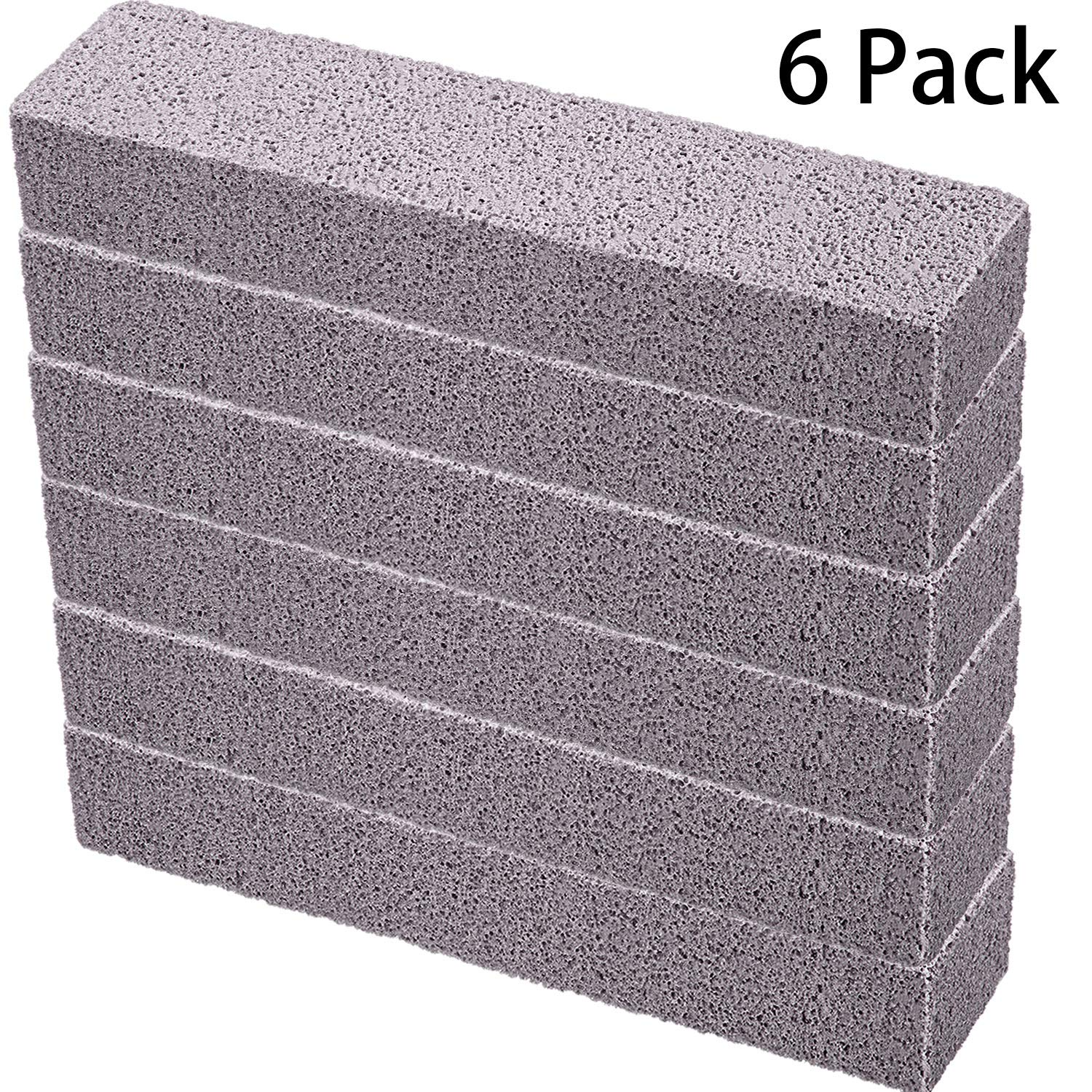 Pumice Sticks Pumice Scouring Pad for Cleaning, Grey Pumice Stick Cleaner for Removing Toilet Bowl Ring, Bath, Household, Kitchen, Spa, Pool, Household Cleaning, 5.9 x 1.4 x 0.9 Inch (6 Packs)