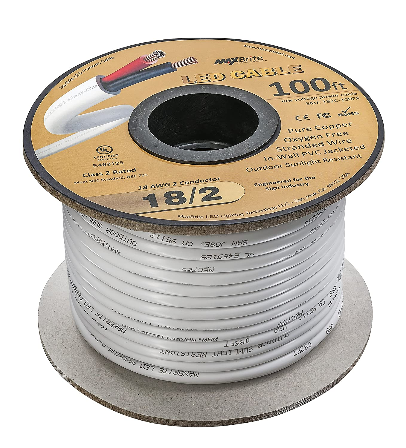 Amazon.com: 18AWG Low Voltage LED Cable, 2 Conductor, Outdoor Rated ...
