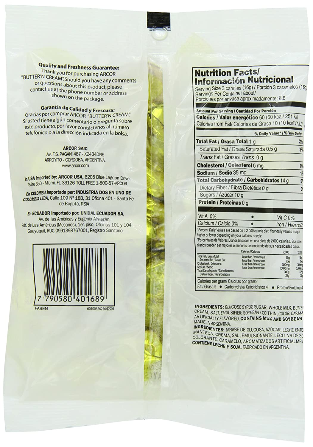 Amazon.com : Arcor Butter N Cream Candy, 5 Ounce (Pack of 24) : Hard Candy : Grocery & Gourmet Food