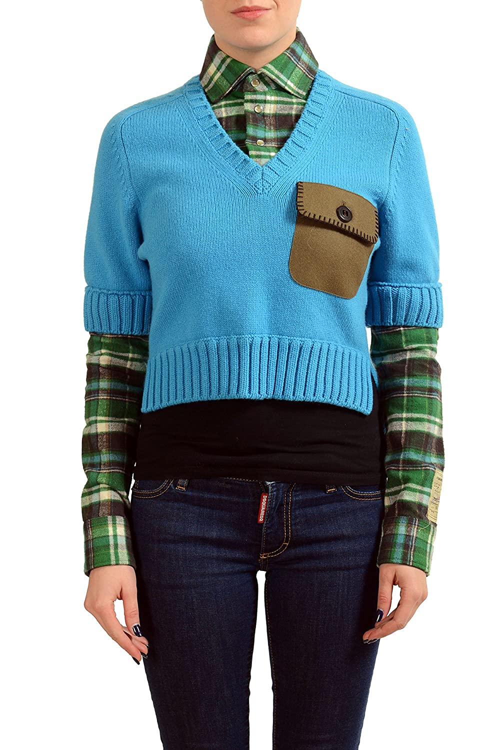Dsquared2 Wool Multicolor Women's Knitted Shirt Sweater US XS IT 38
