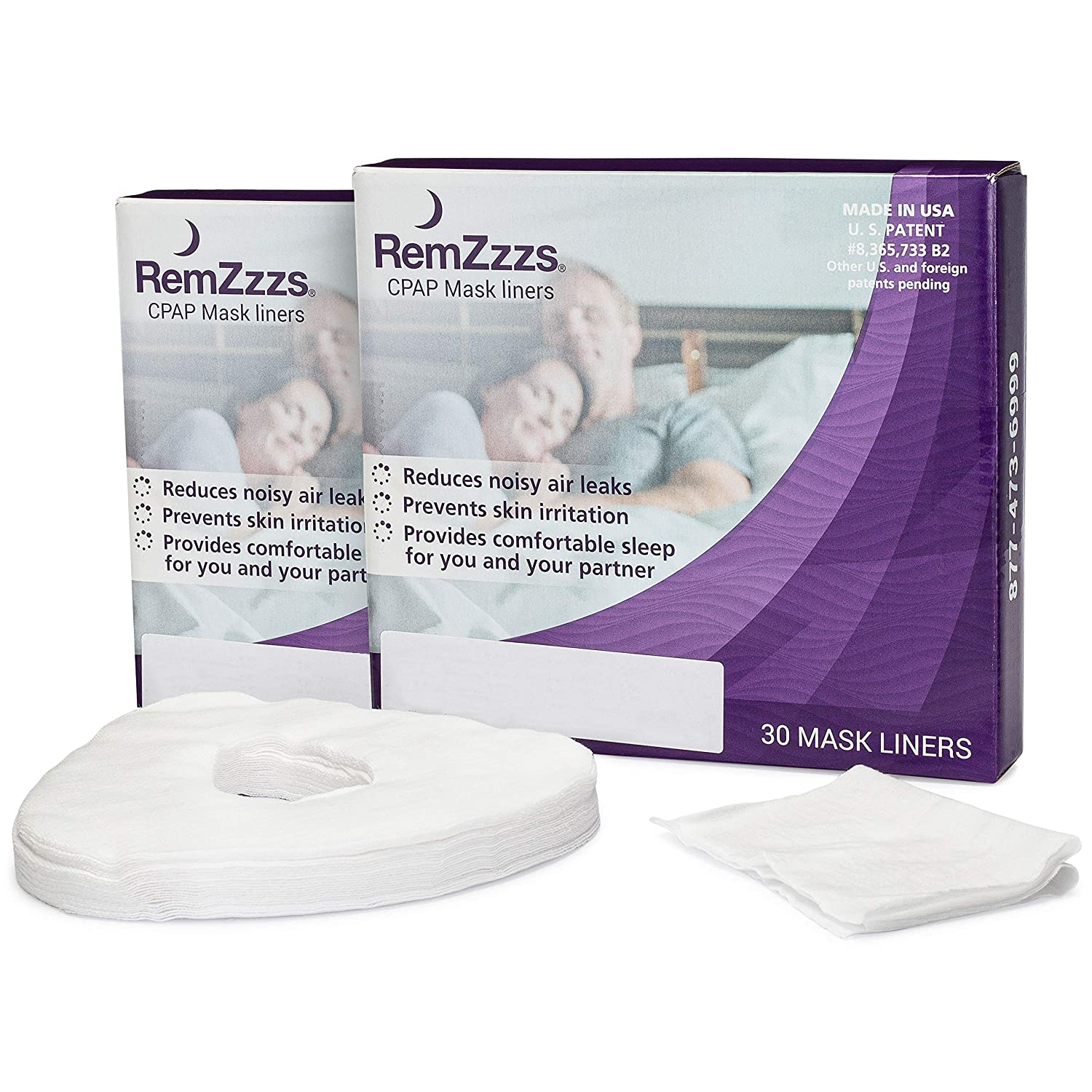 RemZzzs Full Face Cpap Mask Liners (K3-FL) - Reduce Noisy Air Leaks and Painful Blisters 2 Pack- Cpap Supplies and Accessories - Compatible with Resmed Respironics DeVilbiss