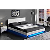 Cherry Tree Furniture URSA White PU Leather Bed Frame with LED on Footend (4FT6 Double)