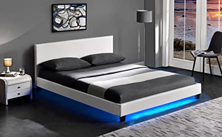 Cherry Tree Furniture URSA White PU Leather Bed Frame With LED On Footend  (4FT6 Double