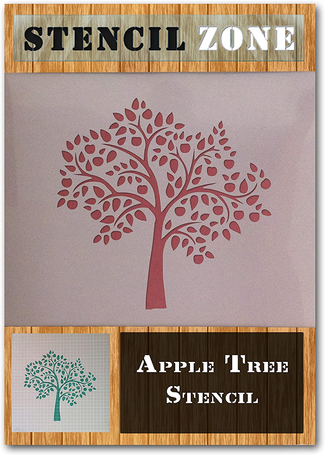 A3 Taille Pochoir - Medium Apple Tree Mylar Fruit Airbrush Peinture murale Art Artisanat Stencil un