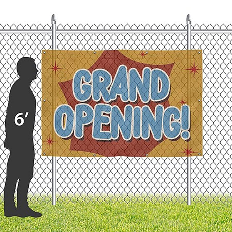 6x4 Grand Opening CGSignLab Nostalgia Burst Wind-Resistant Outdoor Mesh Vinyl Banner