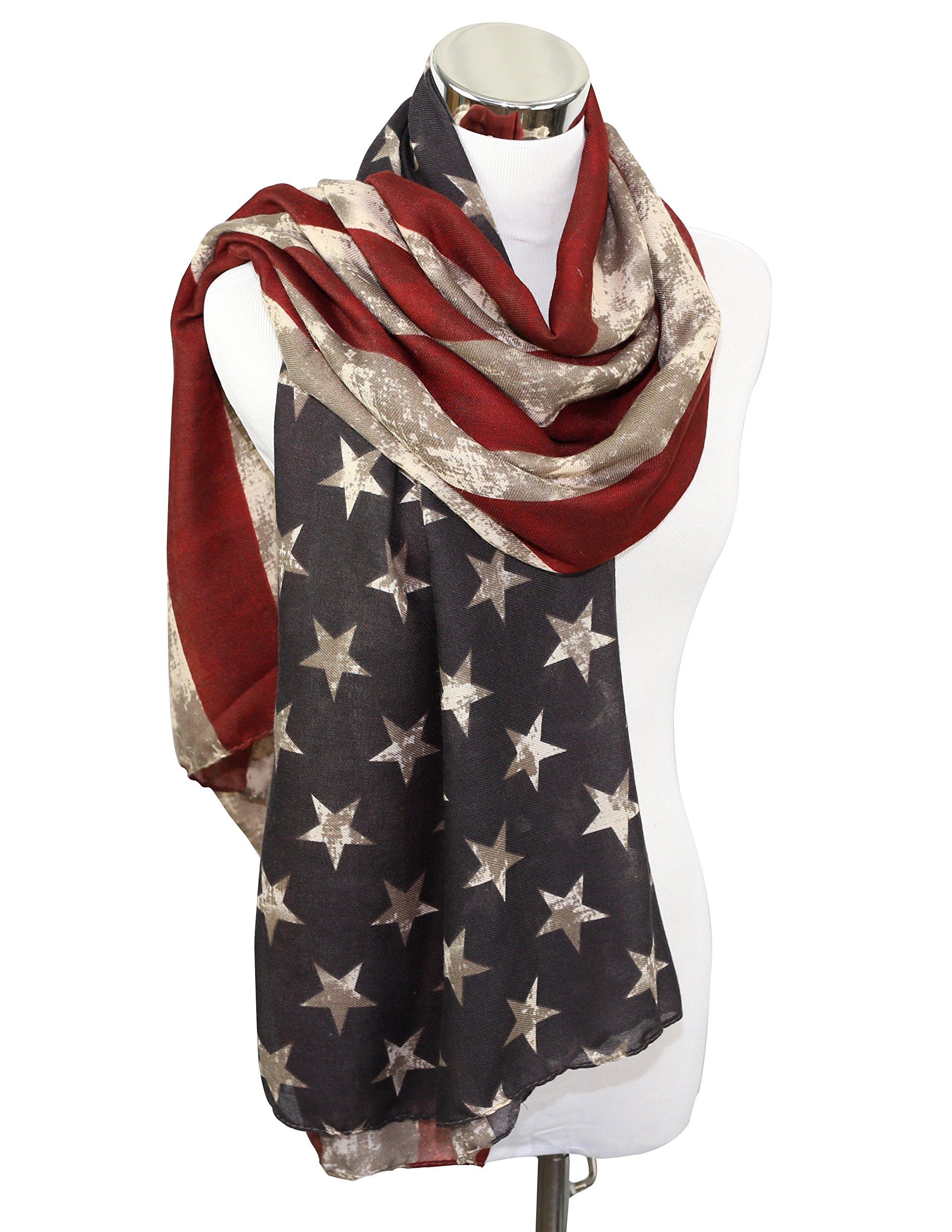 Premium Patriotic American Flag Scarf 7 Styles (Vintage Long)