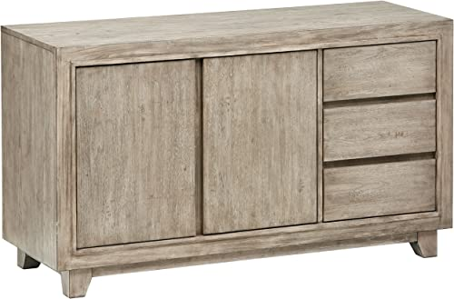 Stone Beam Creston Modern Wood Dining Buffet, Cabinet Credenza, Storage, 56 W, Grey