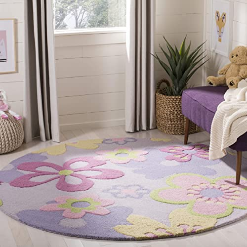 Safavieh Kids Collection SFK314A Handmade Floral Wool Area Rug, 8 Round, Multicolored