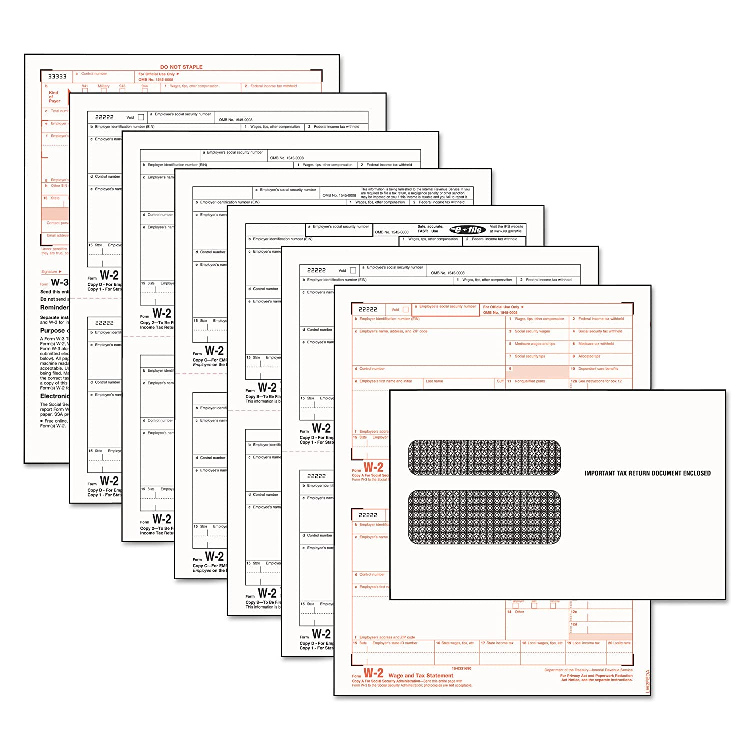 Amazon.com : TOPS 22904KIT W-2 Tax Form/Envelope Kits, 8 1/2 x 5 1/2 ...
