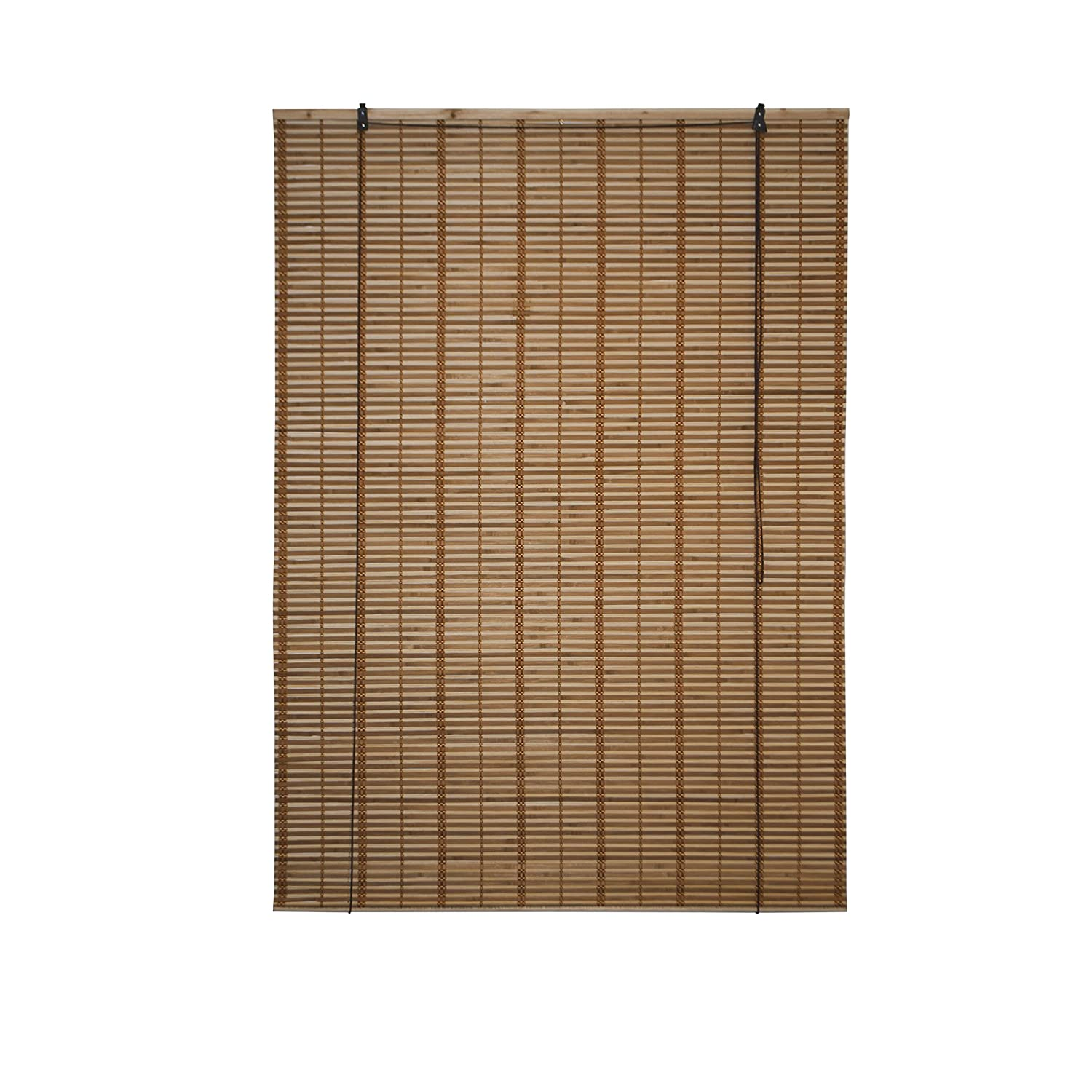 ALEKO® BBL46X64BR Light Brown Bamboo Midollino Wooden Roll Up Blinds Light Filtering Shades 46 X 64 Inches