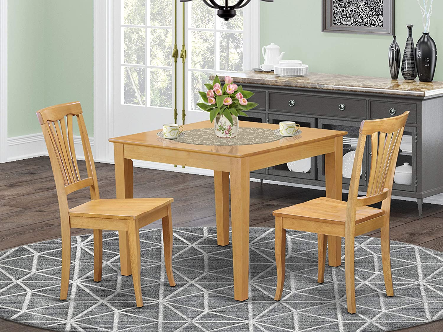 Amazon Com 3 Pc Small Kitchen Table Set Square Table And 2 Dining Chairs Furniture Decor
