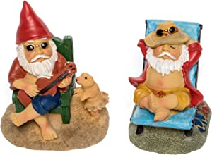 "Patio Eden Miniature Garden Gnome Set - 3"" and 3.5"" Tall - Mini Beach Figurines for Fairy Gardens"