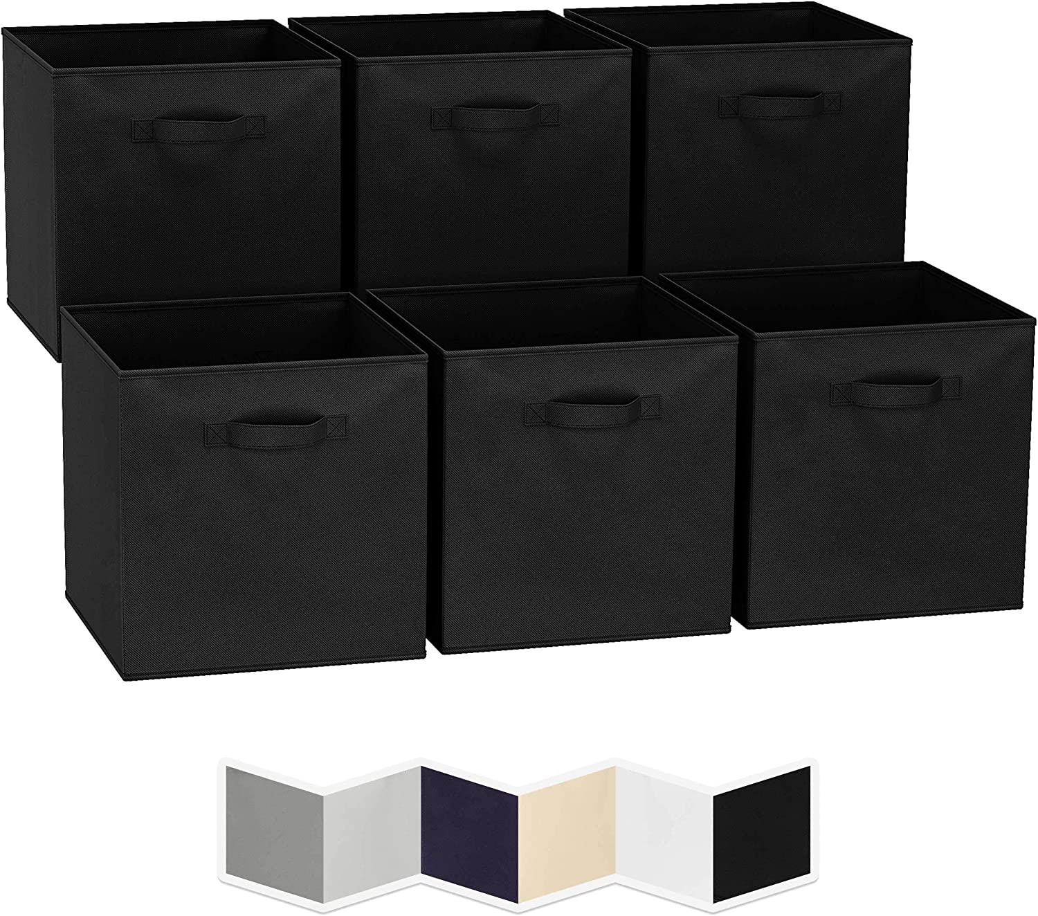 13x13 Large Storage Cubes (Set of 6). Fabric Storage Bins with Dual Handles | Cube Storage Bins for Home and Office | Foldable Cube Baskets For Shelf | Closet Organizers and Storage Box (Black)