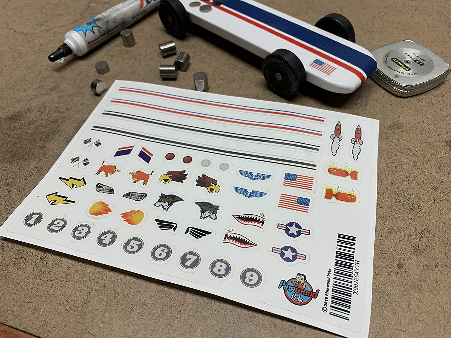Stripes Pinewood Pete Pinewood Derby Car Sticker Set Flags Numbers and More. Lights