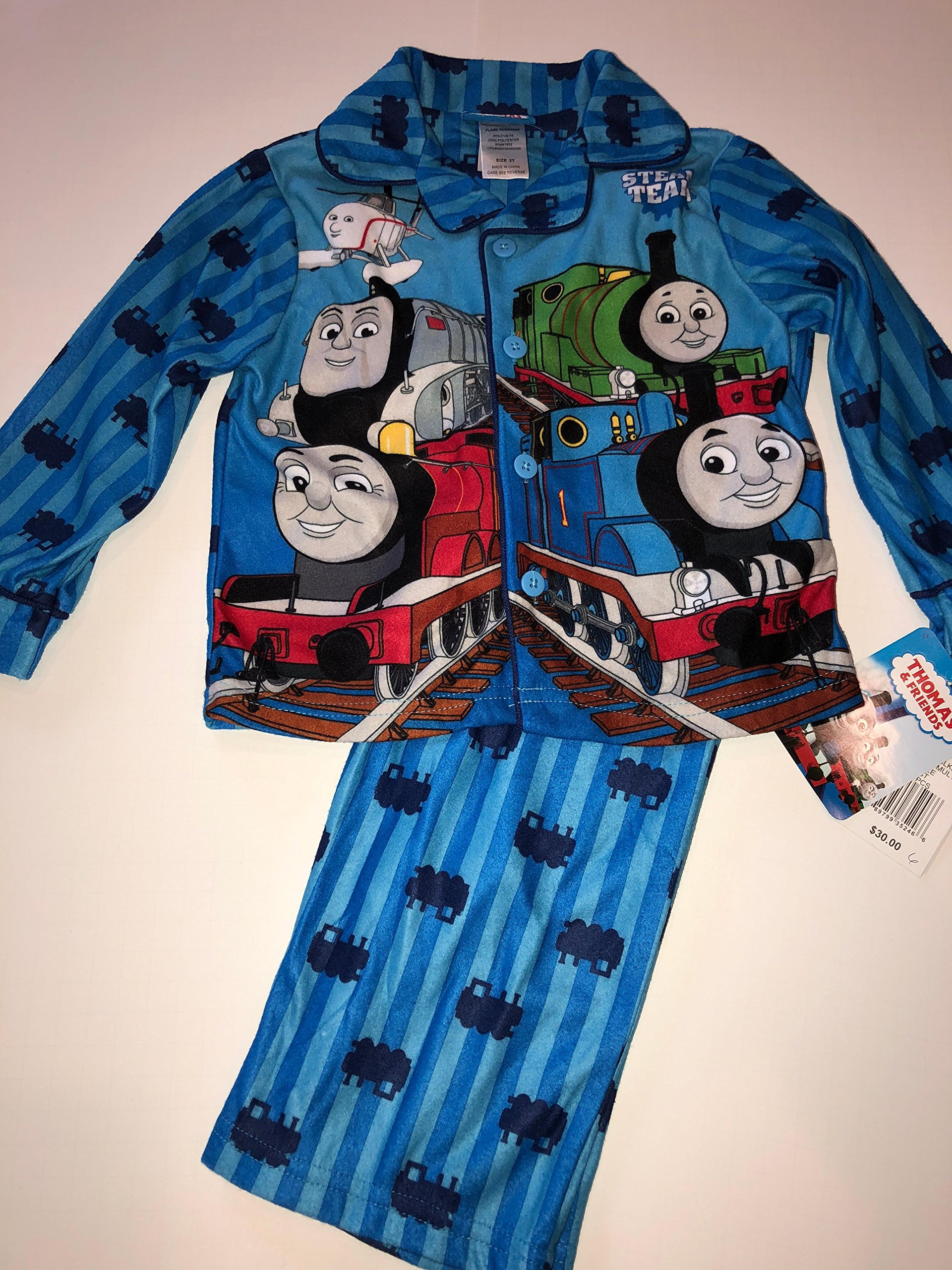 Thomas and Friends Steam Team Toddler Boy's Flannel Pajama Set (3T)