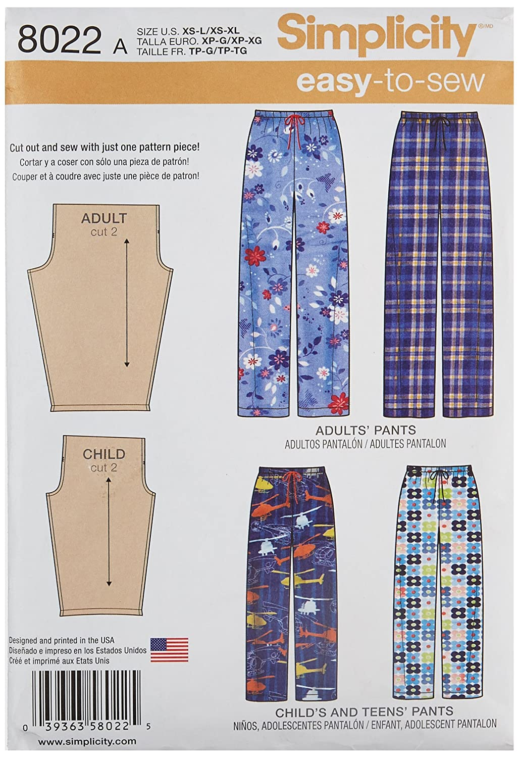Simplicity Creative Patterns US8022A Child's, Teens' and Adults Pants Size: A (Xs - L / Xs - XL), 8022 OUTLOOK GROUP CORP