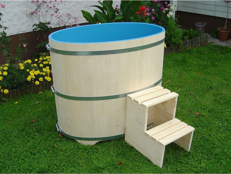 Achleitner Holzwaren 669 - Sauna, piscina de madera de abeto, interior revestido, color azul: Amazon.es: Jardín