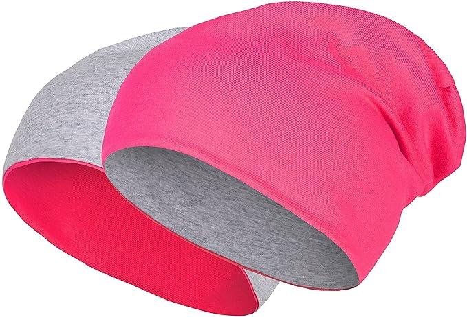 Gorro reversible 2 en 1 barato de color rosa flúor