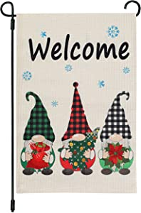 Cynosa Christmas Gnomes Winter Garden Flag, Burlap Yard Winter Flag Vertical Double Sided, Winter Dwarfs with Snowflake Merry Christmas Farmhouse Burlap Yard Outdoor Decor 12.5 x 18 Inches