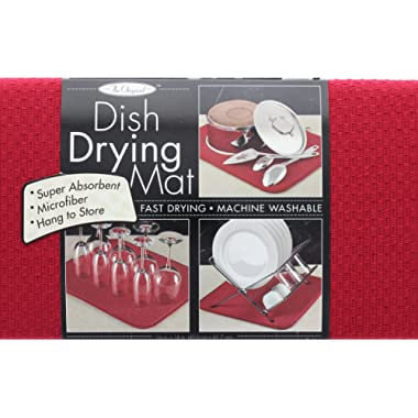 The Original Dish Drying Mat Microfiber Absorbent Machine Washable Fast Drying 16 X 18 Multipurpose Red Color