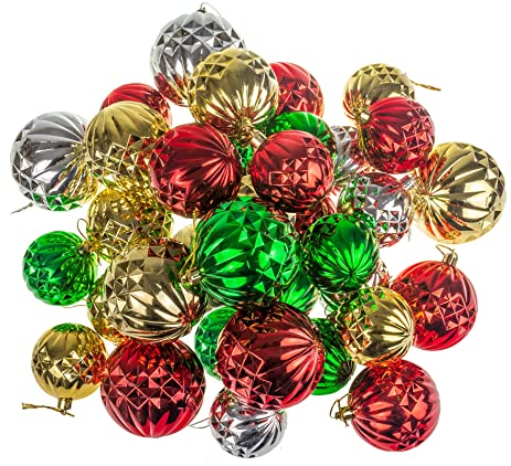 all2shop christmas ball ornaments collection 32 pcs pack 236 275 314 - Green And Silver Christmas Decorations