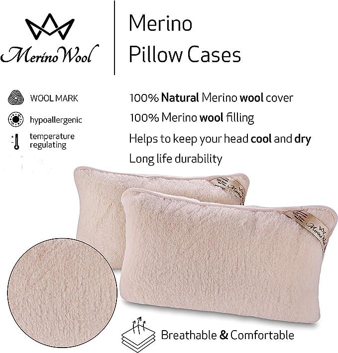 2pack lambswool pillow MERINO WOOL Pillows 45 x 75 zipped cover cushion NEW