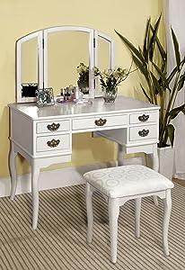 Furniture of America Matilda Stool Set, White Vanity,