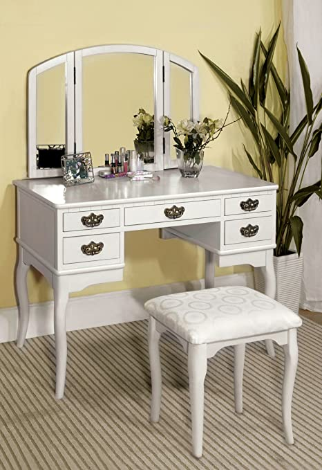 Terrific Furniture Of America Matilda Stool Set White Vanity Caraccident5 Cool Chair Designs And Ideas Caraccident5Info