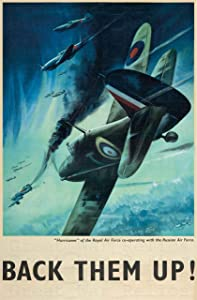 UpCrafts Studio Design WWII Propaganda Poster - Size 11.7 x 16.5 - Supermarine Spitfire - Back Them UP - World War 2 Military Art Prints Replica - WWII Militaria Wall Art Decor for Home, for Office