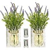 TenXVI Designs Remote Controlled Hanging Mason Jar Sconces - 2 Sets - Flowers, LED Fairy Lights – Shabby Chic Wall Decor…