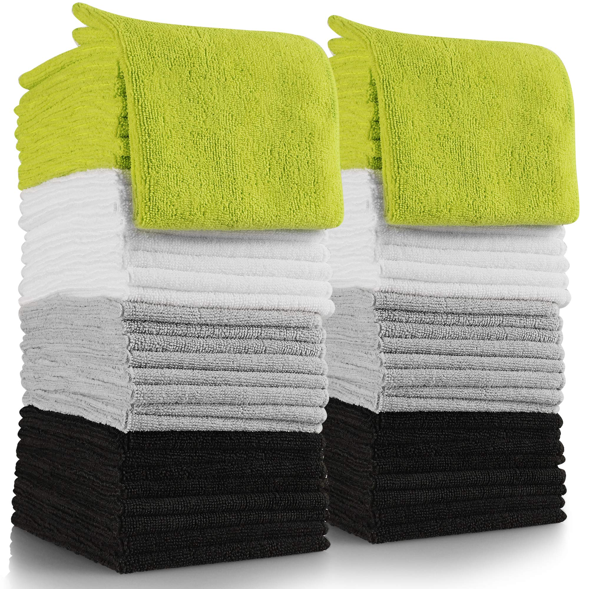 OxGord Microfiber Cleaning Cloth 64pc Pack Bulk - Duster Rag Sponge for Car Wash Auto Care Thick Large for Glasses Kitchen Dish