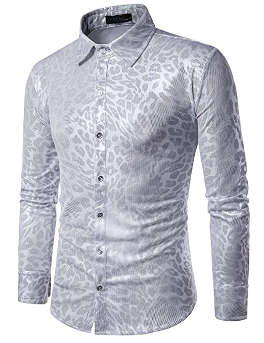 1960s – 70s Mens Shirts- Disco Shirts, Hippie Shirts Zuckerfan Mens Metallic Shiny Nightclub Styles Long Sleeves Button Down Dress Shirts For Party Disco Dance $24.99 AT vintagedancer.com