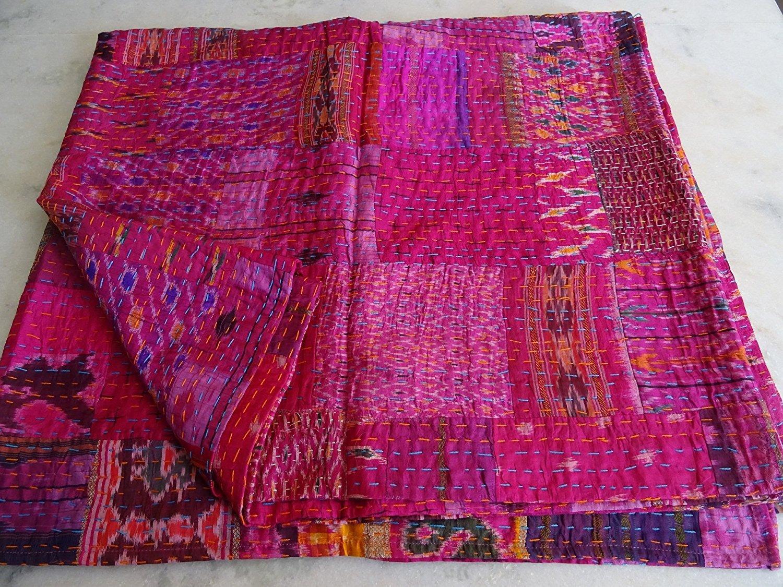 Patola Silk Patch Work Kantha Quilt , Kantha Blanket Bedspread, Patch Kantha Throw, King Kantha, Kantha Rallies Indian Sari Quilt, Size 90'' X 108'' 203