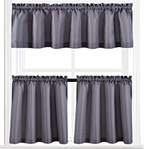Valea Home Waterproof Kitchen Curtains Set for Bathroom Window 60
