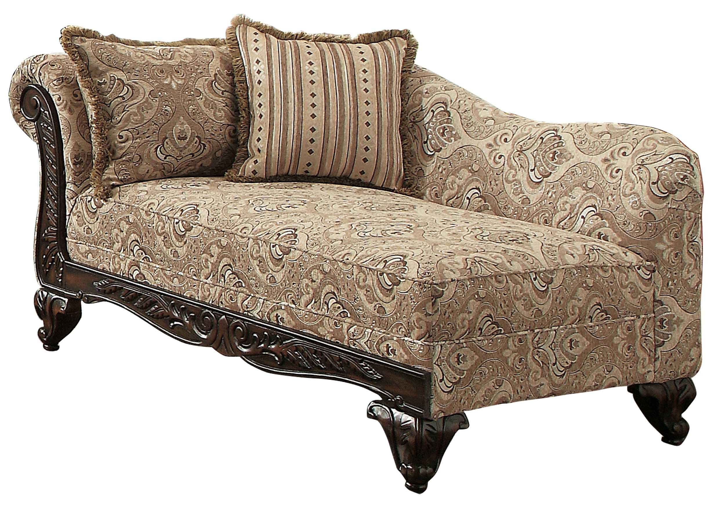 Homelegance Thibodaux Traditional Style Floral Chaise, Brown