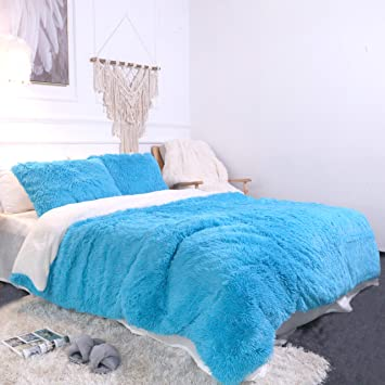 Sleepwish Plush Velvet Bed Set 3 Piece Blue Shaggy Comforter Cover Boys Girls Dorm Soft Fluffy Faux Fur Bedspread, Twin