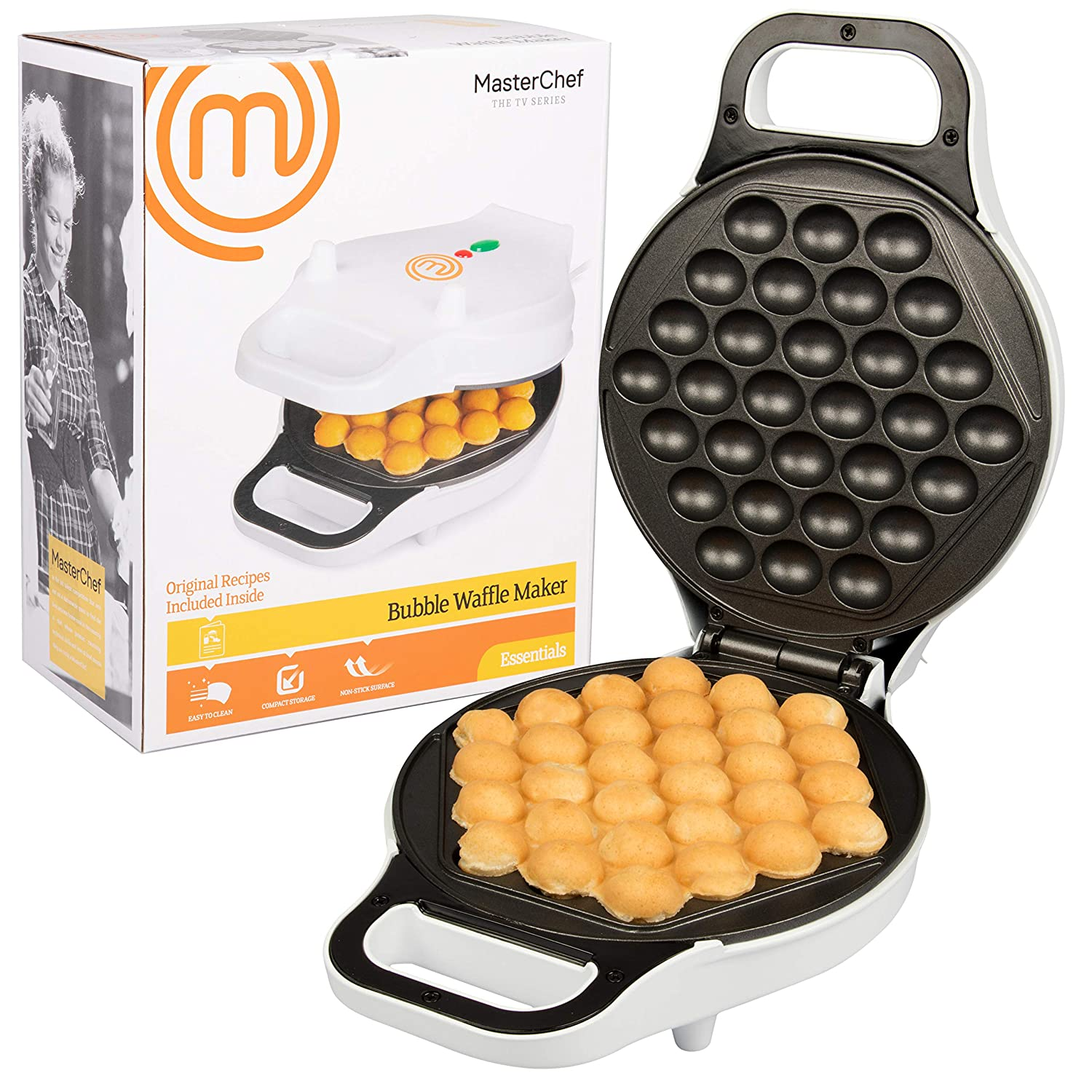 MasterChef Bubble Waffle Maker- Electric Non stick Hong Kong Egg Waffler Iron Griddle- Ready in under 5 Minutes MCF-BWW-696