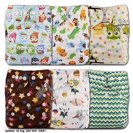 LittleBloom Bebé Pañales Lavables Pañal Reutilizable Insertos, Cierre: POPPER, Set de 6,