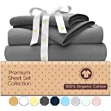 500-Thread-Count Organic Cotton Bed Sheets-Set - 500TC King Size Gray - 4 Piece Bedding - 100% GOTS Certified Extra Long…