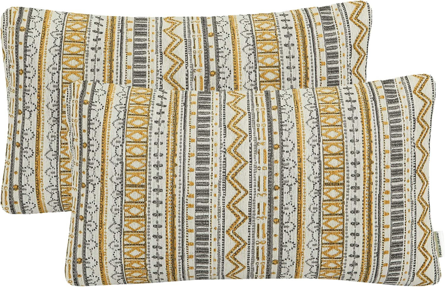 Mika Home Pack of 2 Rectangle Decorative Pillow Cases Throw Pillow Covers for Home Decoration, Bohemian Striped Geometric Pattern, 12x20 Inches, Gold Grey Cream