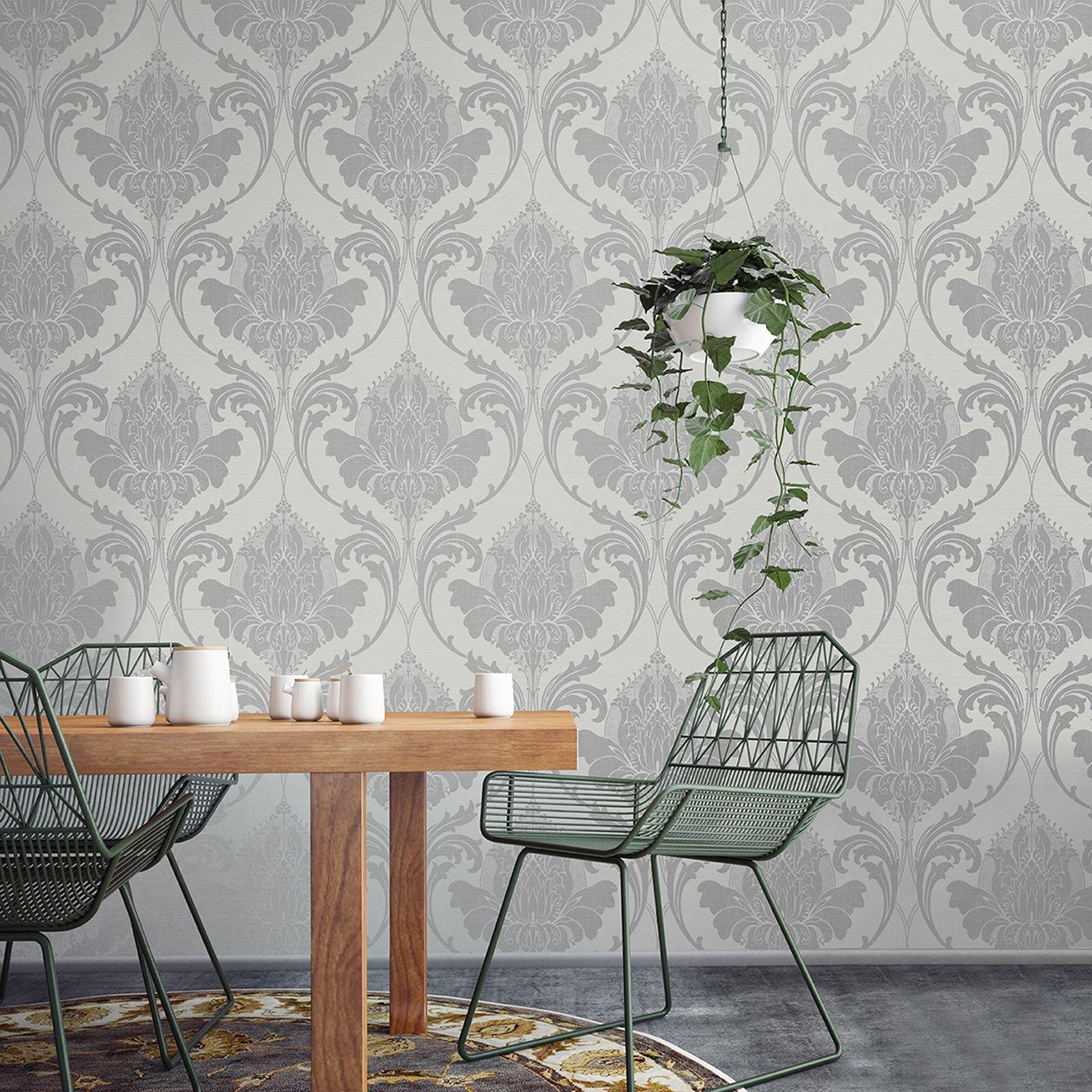 Damask Wallpaper Modern Metallic Linen Sheen Effect 2 Colours Zahra Cr