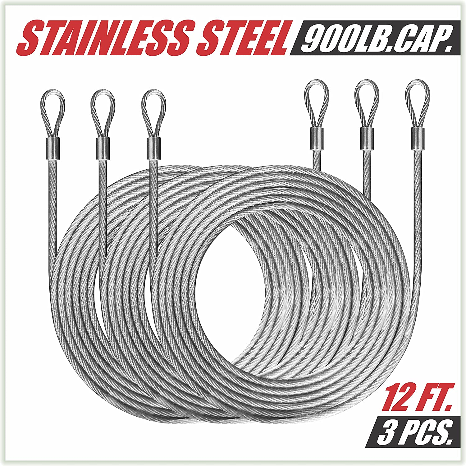 ColourTree 48 Feet (12ft x 4) PVC Coated Stainless Steel Metal Wire Cable Ropes Hardware Kits for Square and Rectangle Sun Shade Sail Canopy - Commercial Standard Heavy Duty