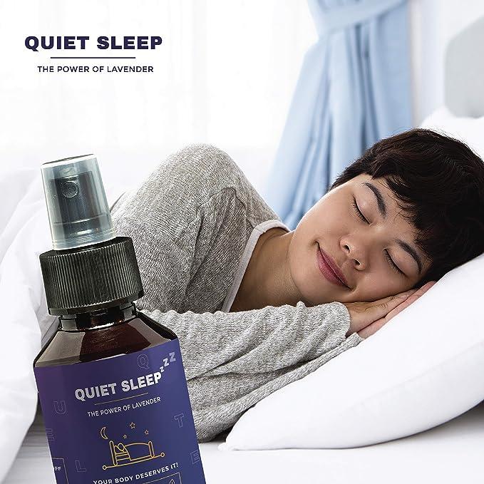 Apoyo al sueño con aceite de lavanda por sueño silencioso: spray orgánico de apoyo al sueño de 100 ml alternativa a las tabletas de melatonina para dormir y ...