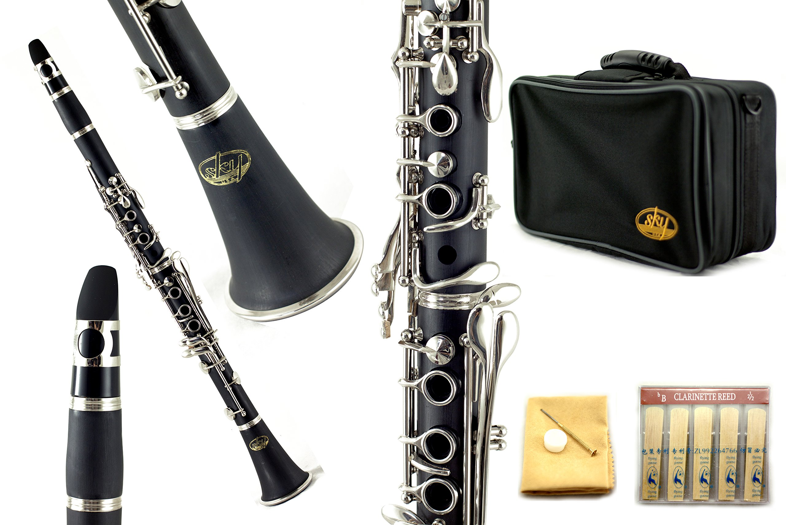 Sky Band Approved SKY-CLEBI-001 Black Ebonite B-flat Clarinet with Case, Mouthpiece, 10 Reeds, Cork Grease and Cleaning Cloth SOUND GUARANTEED by Sky