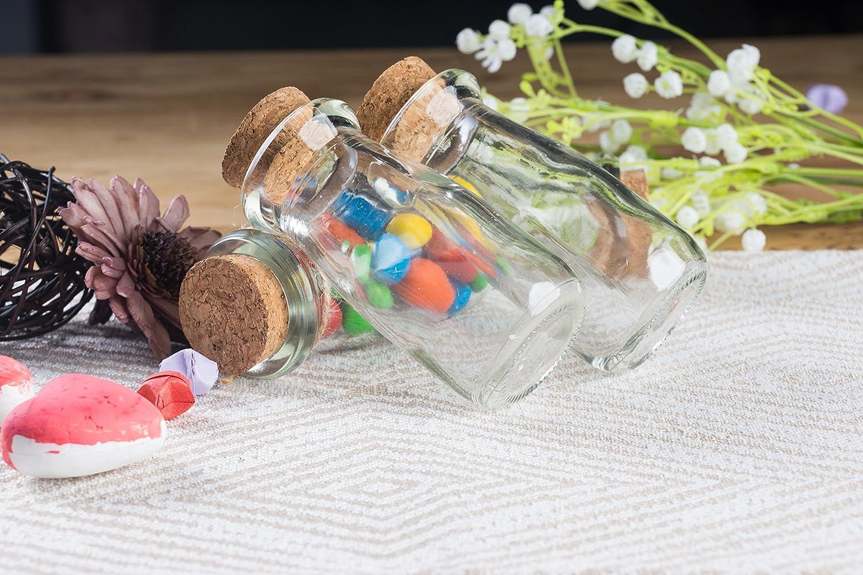hogar Botellas de cristal transparente con tapas de corcho 2,7 onzas bricolaje regalos de fiesta 15 unidades mini tarros de leche transparentes con tapones para decoraci/ón de boda vintage