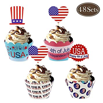 Evoio American Flag Picks 4 Kinds 4th Of July US Cupcake Toppers For Party