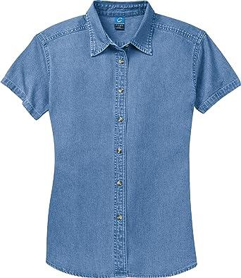 Port & Company Ladies Short Sleeve Denim Shirt (LSP11) at Amazon ...