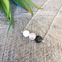 Rose Quartz & Howlite Essential Oil Necklace, Women's Gemstone Aromatherapy Jewelry, Lava Necklace